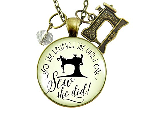 """Gutsy Goodness 24"""" She Believed She Could SEW She Did Seamstress Necklace Jewelry Gift"""