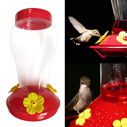 m·kvfa Wide Mouth Waist Hummingbird Feeder Free Nectar Patio Yard Window Bird Gift Three Flower-Shaped Feeding Ports with Comfortable Perches (1X)