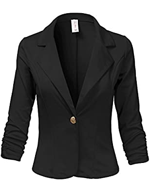 Luna Flower Women's 3/4 Shirring Sleeve One Button Comfortable Blazer