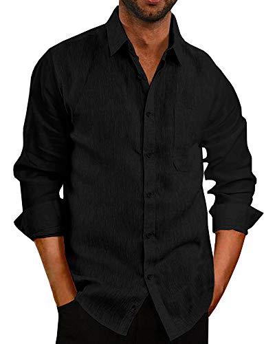 Pengfei Mens Long Sleeve Shirts Linen Cotton Button Down Fishing Tees Spread Collar Plain Summer Shirts