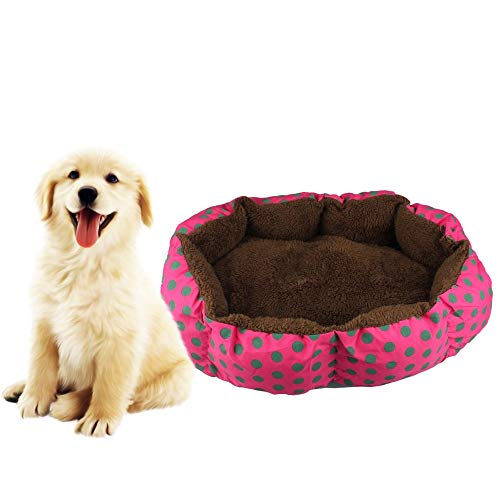 BB67 Pet House Dog Cat Bed House Warm Plush Soft Mat Bedding Fleece Basket Kennel Cozy Nest Mat Pad (hot Pink)