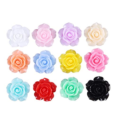 (Supvox Resin Rose Flowers Beads DIY Cabochons Embellishment 10mm 50pcs (Assorted Color))
