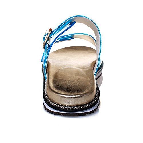 AllhqFashion Women's Low Heels Solid Pull On Open Toe Sandals Blue Kzy6Dg