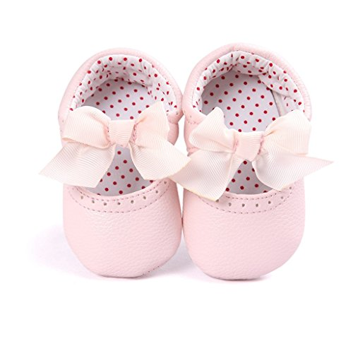 Por 0-12 meses bebé,Auxma Bebé Soft bowknot zapatos Princesa Zapatos rosa
