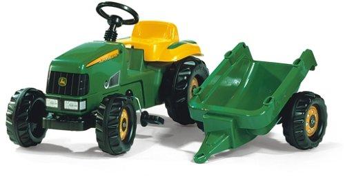 Schneider 01 219 0 - rollyKid John Deere Traktor mit Anhänger 142 cm