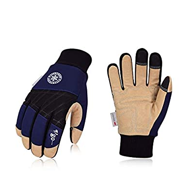 Vgo 3Pairs 32? or above 3M Thinsulate C40 Lined Winter Premium Pigskin Leather Waterproof Work Gloves (Dark Blue,PA1015FW)