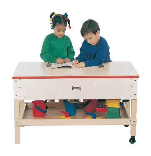 Jonti- Craft Wooden Toddler Classroom Game Play Multi-function Sensory Activity Table With Shelf Rectangle