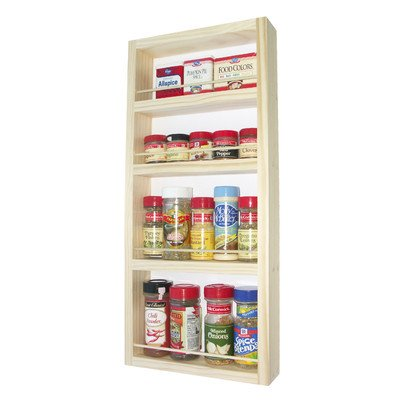 "(SR-330) Wall mount or surface mounted Kitchen Spice Rack holder, 32.5""H x 11""W x 2.5""D, Solid Wood, accommodates multiple size bottles. Enamel finish or stain finish in your color choice, or unfinished also!"