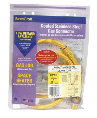 BrassCraft CSSL45E-48 P 3/8-Inch Outer Diameter Safety Plus Gas Appliance Connector with Excess Flow -