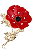 GAOZONGTER Enamel Red Crystal Flowers Poppy Brooches for Women Soldier Remembrance Days Gifts Poppy Pins