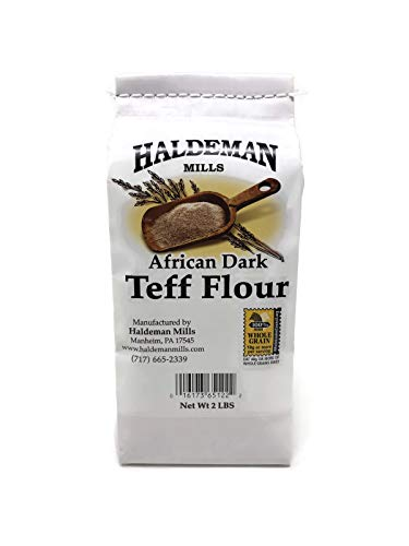Haldeman Mills African Dark Whole Grain Teff Flour - Naturally Gluten Free Flour - Used for Ethiopian Bread Injera Recipes, 2 Lb. Package (Flour No Wheat)