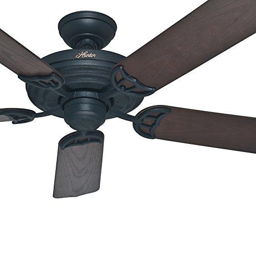 Hunter Fan 52 inch Outdoor Ceiling Fan in Matte Black with Stainless Steel Hardware to Resist Rust, 5 Blade -