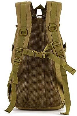 Yakmoo Mochila de Asalto Impermeable Estilo Militar T/áctico de Nylon Molle Sistema Bolsa de Estudiante Gran Mochila de 40L al Aire Libre