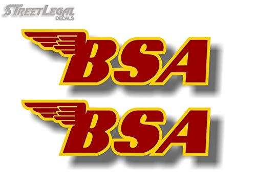 "2 BSA Motorcycle Winged Red w/Yellow Fuel Tank 7"" Vinyl Sticker Decals Emblem Logo Motorcycles Decal Stickers (Red w/Yellow)"