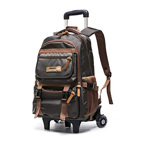 C-Xka Nylon Rolling Backpack Carry-on Luggage Travel Duffel Bag Wheeled Book Bag Detachable Dual Purpose Wheeled Backpack for Children (Color : A
