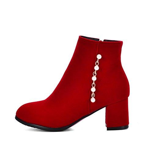 Wildlederstiefel Bead Womens Imitierte Strap BalaMasa Zipper Chain Rot vUwBYq1