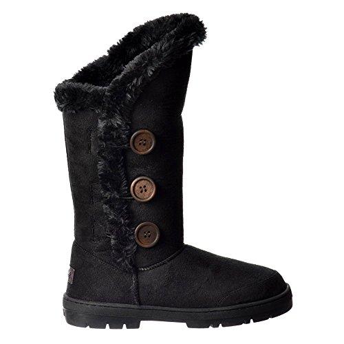 Fur Flat Boot Triple Winter Lined Button Black 3 qvwxa1EU