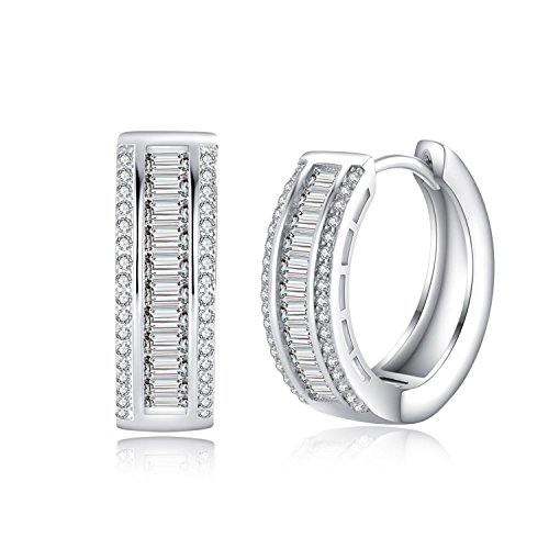 (Wealthmao Hoop Earrings Hypoallergenic 18K White Gold Plating CZ Rounded Huggie Piercing Earrings for Women Girls 0.81