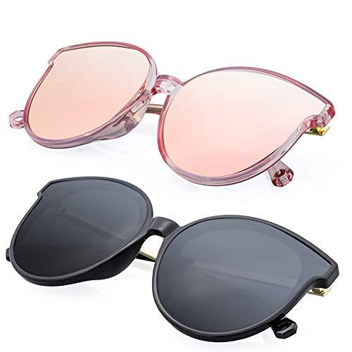 FASHION DG 2-Oversized Cateye Sunglasses For Women UV400 Protection Polarized Mirror Vintage Eyewear ()