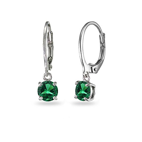 (LOVVE Sterling Silver Simulated Emerald 6mm Round Dangle Leverback Earrings)