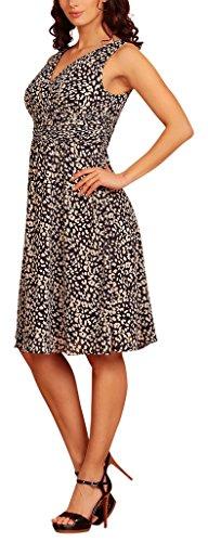 Evening fiesta corto Leopard cuello Navy Print en Vestido Dress Blue gasa My pico cóctel pRxTqZRH