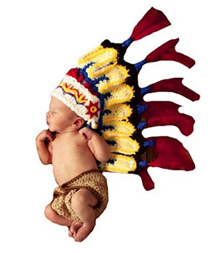Ufraky Baby Handmade Knitted Indian Chief Costume Photo Photography Prop Set ()