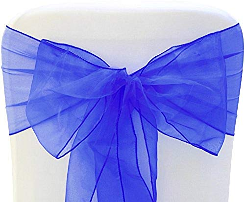 SARVAM FASHION SF New Pack of 50 Chair Decorative Organza Sashes Bow Designed for Wedding Events Banquet Home Kitchen Decoration - (50, Royal Blue)