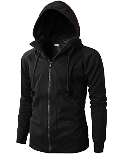 H2H Mens Casual Fashion Active Jersey Slim Fit Hoodie Zip-Up BLACK US L/Asia XXL (KMOHOL019)