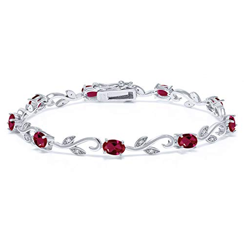 Gem Stone King 925 Sterling Silver 4.63 Ct Oval Red Created Ruby Greek Vine 7 Inch White Diamond Bracelet
