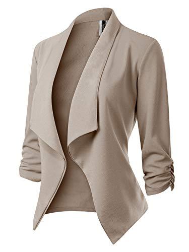 MixMatchy Women's [Made in USA] Classic 3/4 Gathered Sleeve Open Front Blazer Jacket (S-3XL) Khaki L