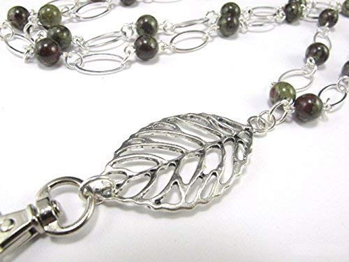 Amazon com: Dragon Blood Jasper and a Leaf Lanyard, Silver Lanyard