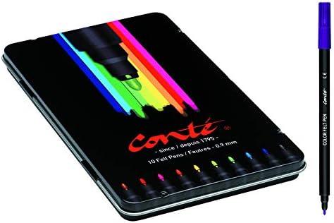 BIC Conté - Estuche métalico con 10 rotuladores, multicolor: Amazon.es: Oficina y papelería