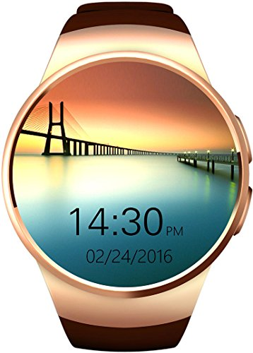 GPCT Bluetooth [Android/iOS] Touch Screen [Water Resistant] Workout/Sleep/Heart Rate Monitor [Smart Watch] for iPhone 7 Plus/7/6s Plus/6s/6/5, Galaxy Edge/S6/S5, HTC, Sony, LG, Android- Gold