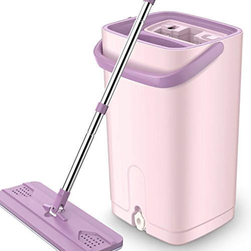 mop Complete cleaning system Mop head + 360° rotating mop bucket Save time and effort Rotary mop (Size : Peach pink) ()