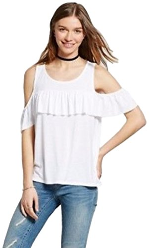 Masked Brand Mossimo Women's Cold Shoulder Ruffle Tank (Fresh White, Medium)