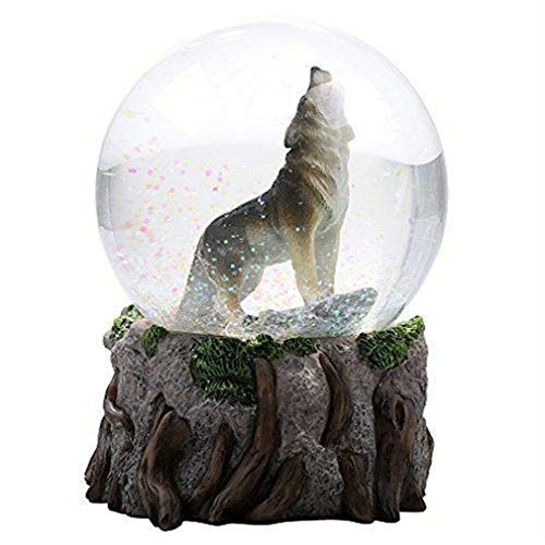 Ky & Co YK Howling Wolf Water Globe Figurine Snow Globe Forest Friends Collectible (Wolf Water Globe)