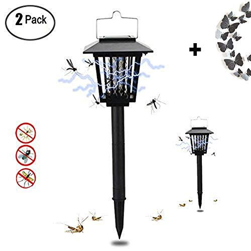 Shareculture 2 Pack Insect Killer Bug Zapper Solar Powered Mosquitoes killer Outdoor for Flies Moths Cordless Garden Lamp(black) by Shareculture