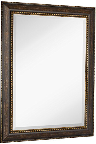 NEW Large Embellished Transitional Rectangle Wall Mirror | Luxury Designer Accented Frame | Solid Beveled Glass| Made In USA | Vanity, Bedroom, or Bathroom | Hangs Horizontal or Vertical 30