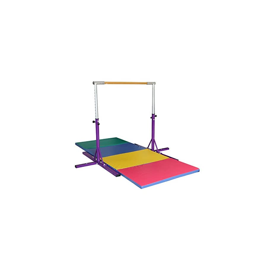 "Usexport Purple Adjustable 3' to 5' Gymnastics Horizontal Bar and 4'x10'x2"" Folding Gym Mat Combo"