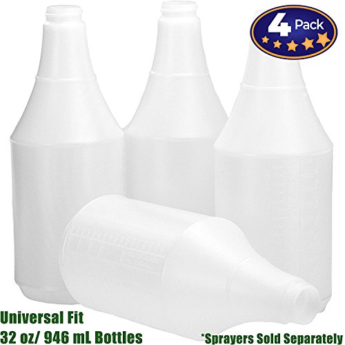 Mop Mob Commercial-Grade Chemical Resistant 32 oz Bottles ONLY 4 Pack Embossed Scale for Measuring. Pair with Industrial Spray Heads for Auto/Car Detailing, Janitorial Cleaning Supply or Lawn Care from Mop Mob