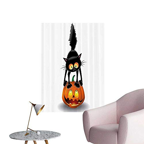 Vinyl Artwork Black Cat Pumpkin Head Spooky Carto Characters Halloween Humor Themed Easy to Peel Easy to Stick,32