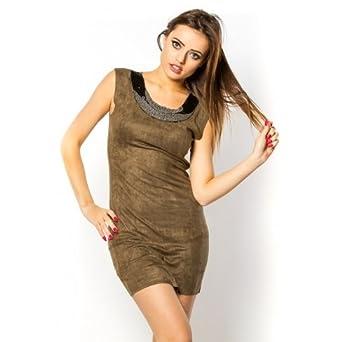 030359972ad Princesse boutique - Robe en suèdine KAKI  Amazon.fr  Vêtements et ...