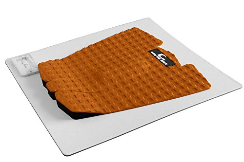 Own the Wave 3-Piece Grip Pad for All Boards - Customizable Traction pad for Surfboard Longboard SUP Board Skimboard - Stickiest 3mm Adhesive Comfort for Your feet - W/Wax Comb (Orange) ()