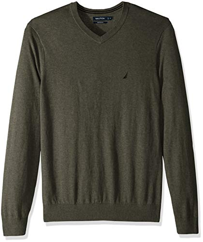 Nautica Men's Big and Tall Long Sleeve V Neck Jersey Sweater, Pine Forest Heather, ()