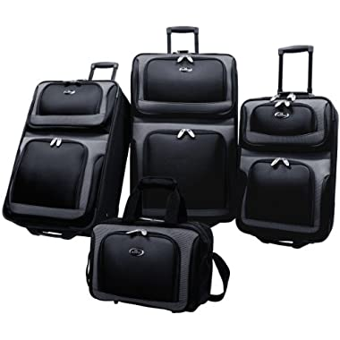 US Traveler New Yorker 4 Piece Luggage Set Expandable,Black,One Size