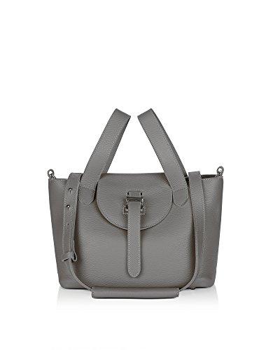 0303taupe Grey Leather Handbag ()