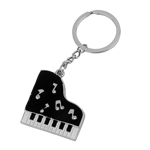 (Jili Online Piano Key Shape Keyring Key Chain Keyfob Fashion Bag Purse Hanging Decor)