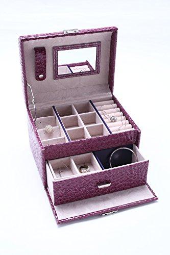 Leather Jewelry Box Makeup Case Large Capacity Cosmetic Lockable Storage Organizer Display with Mirror, Fabulous Girls Gift - Organizer Sunglass Diy