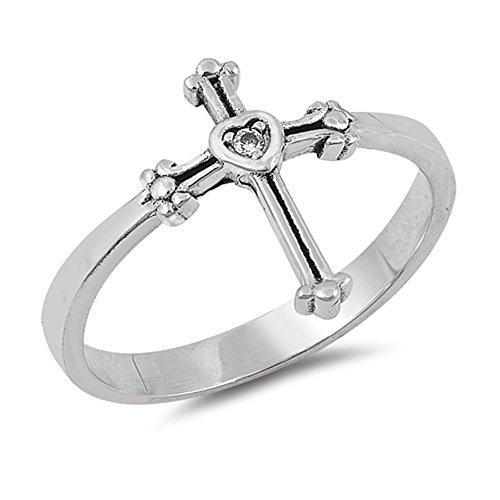 Solitaire Clear CZ Heart Cross Ring Sterling Silver Christian Band Size 9
