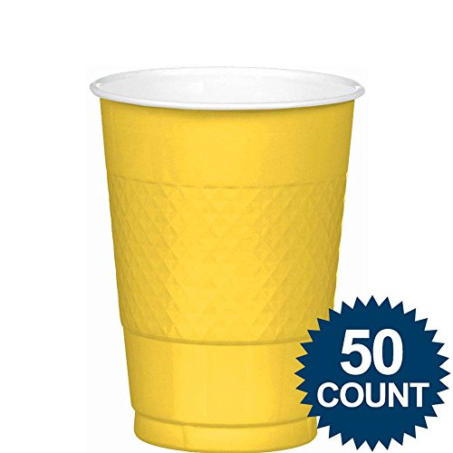 [Amscan Big Party Pack 50 Count Plastic Cups, 12-Ounce, Sunshine Yellow] (Most Extreme Halloween Costumes)
